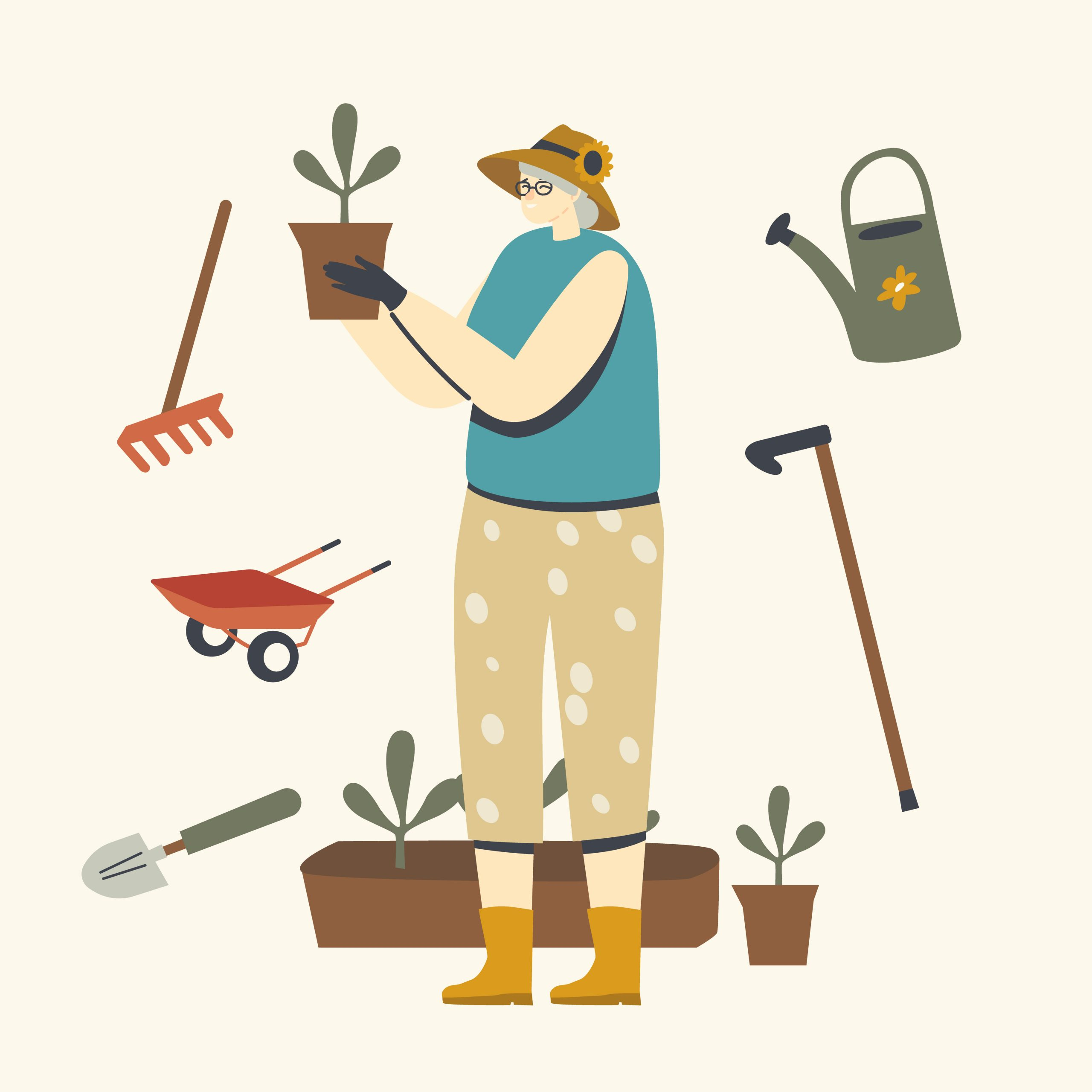 Senior Woman Gardening or Farming Hobby. Aged Grey Haired Female Character in Gloves Caring of Home Plants in Pots